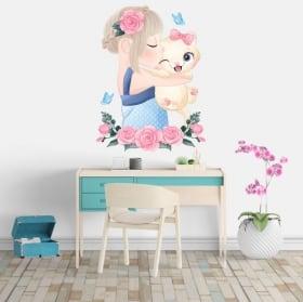 Pegatinas de vinilos niña con gata flores y mariposas