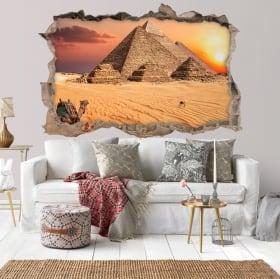 Vinilos paredes 3d atardecer egipto pirámides de giza