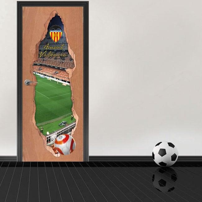 Vinilos puertas 3d estadio mestalla valencia club de fútbol