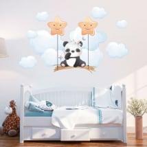 Vinilos y pegatinas para bebé oso panda en el columpio