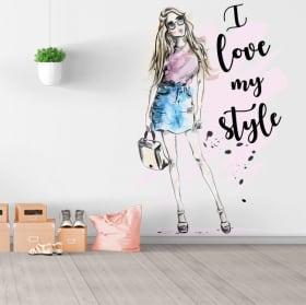 Vinilos y pegatinas silueta mujer con frase i love my style