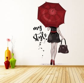 Vinilos decorativos y pegatinas silueta mujer my style