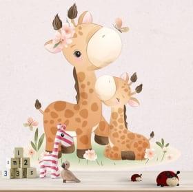 Vinilos decorativos para bebés jirafas con mariposas y flores