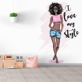 Vinilos decorativos silueta mujer con frase i love my style