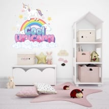 Vinilos y pegatinas unicornio en el arcoíris
