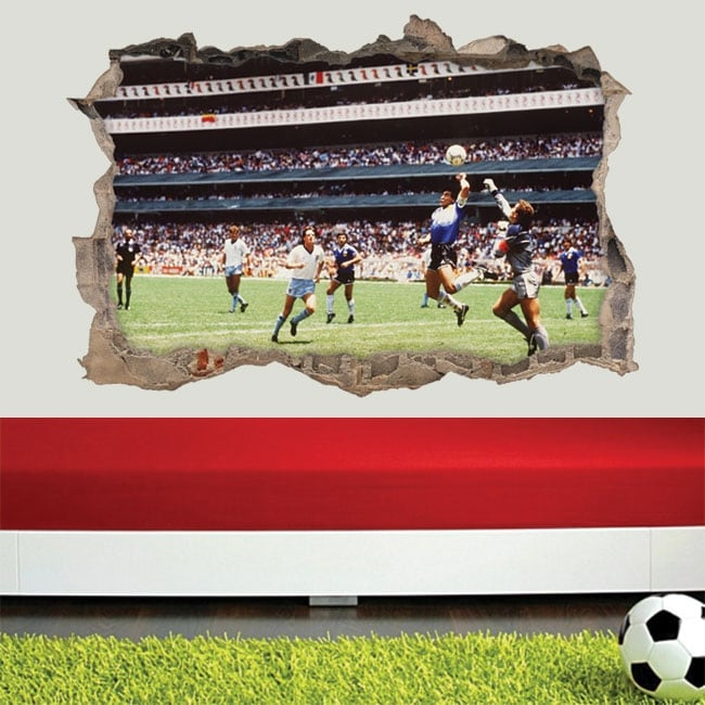 Vinilos y pegatinas 3d fútbol maradona la mano de dios