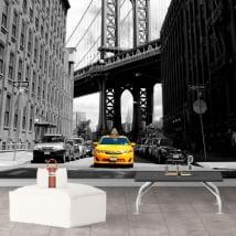 Fotomural taxi en nueva york y puente de manhattan