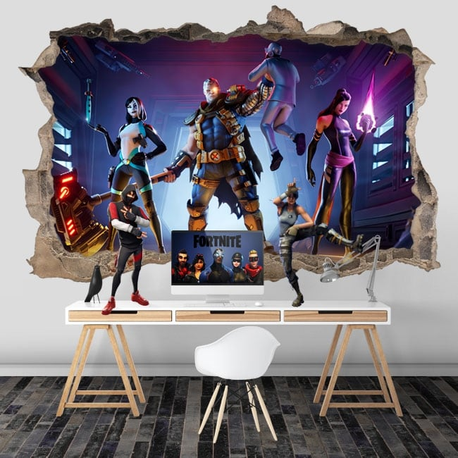 Vinilos agujero pared videojuego fortnite x-force 3d