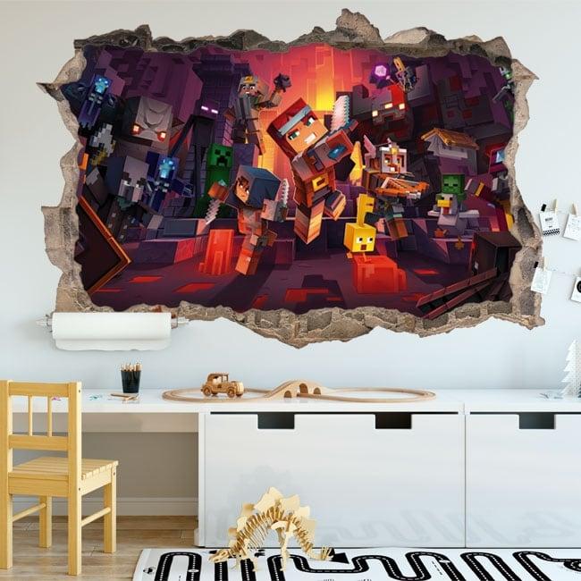 Vinilos decorativos agujero 3d videojuego minecraft