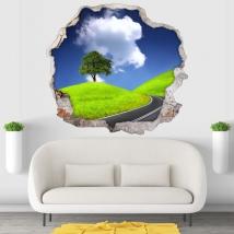 Vinilos y pegatinas árbol y carretera 3d