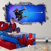 Vinilos agujero 3d miles morales spider-man