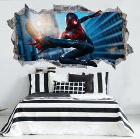 Pegatinas de vinilos miles morales spider-man 3d