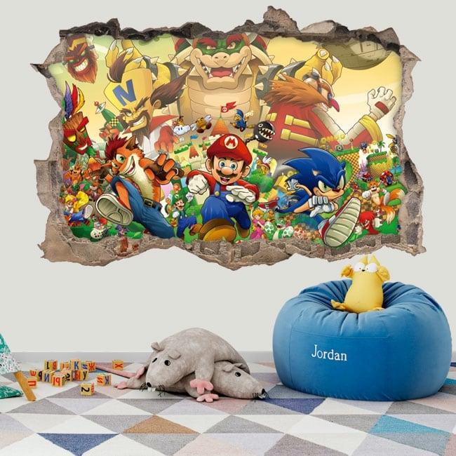 Pegatinas de vinilos 3d sonic the hedgehog crossover