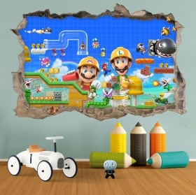 Pegatinas de vinilos 3d super mario bros maker 2