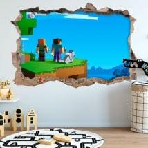 Pegatinas agujero 3d videojuego minecraft
