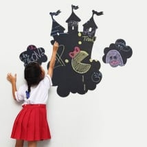 Vinilos pizarra negra castillo con nubes