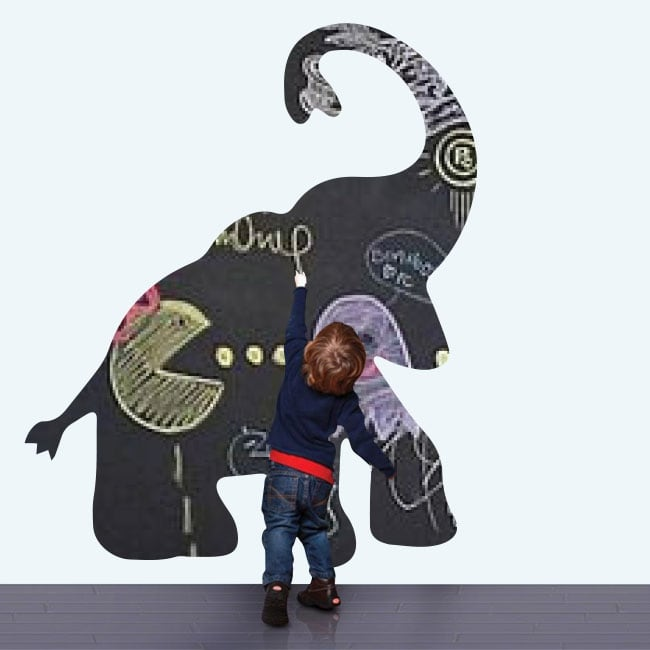 Vinilos infantiles pizarra negra elefante