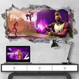 Vinilos decorativos agujero videojuego fortnite 3d