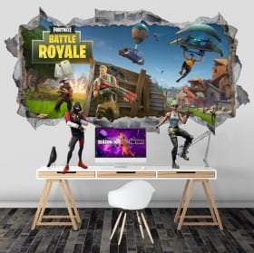Vinilos agujero pared fortnite battle royale 3d