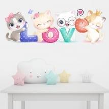 Vinilos y pegatinas paredes gatos love