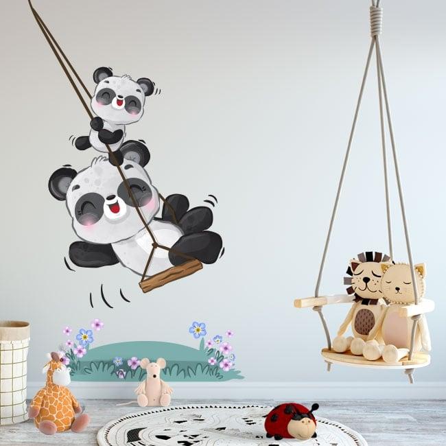 Vinilos y pegatinas infantiles osos panda en columpio