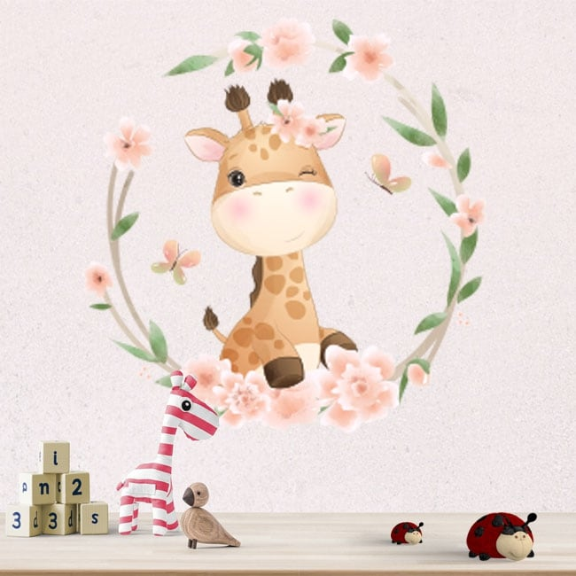 Vinilos y pegatinas paredes jirafa con flores