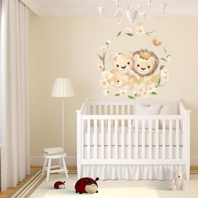 Vinilos y pegatinas paredes familia de leones con flores