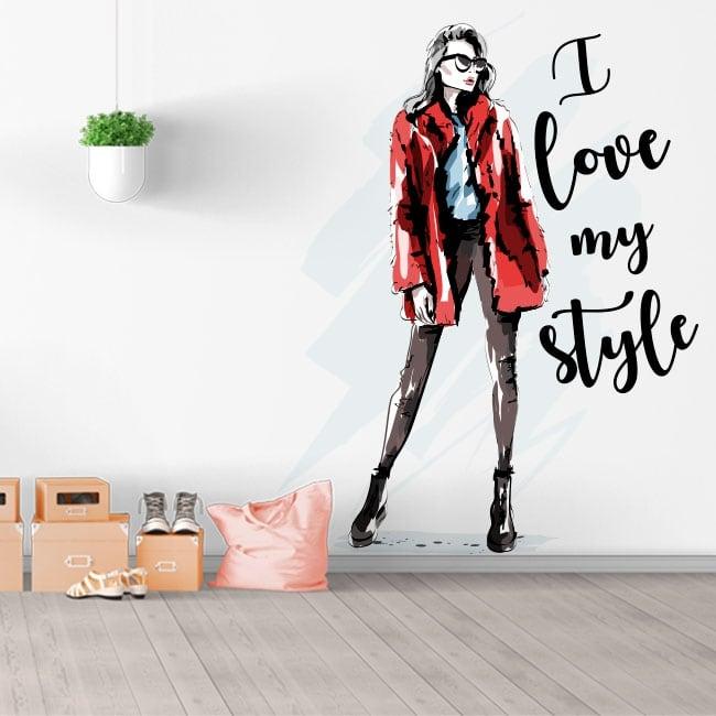 Vinilos y pegatinas silueta mujer i love my style
