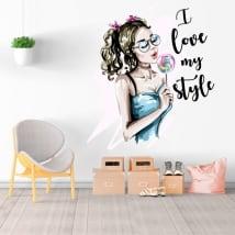 Vinilos decorativos silueta mujer i love my style