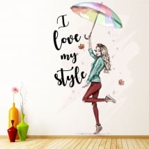 Vinilos silueta mujer i love my style