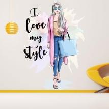 Pegatinas de vinilos silueta mujer i love my style