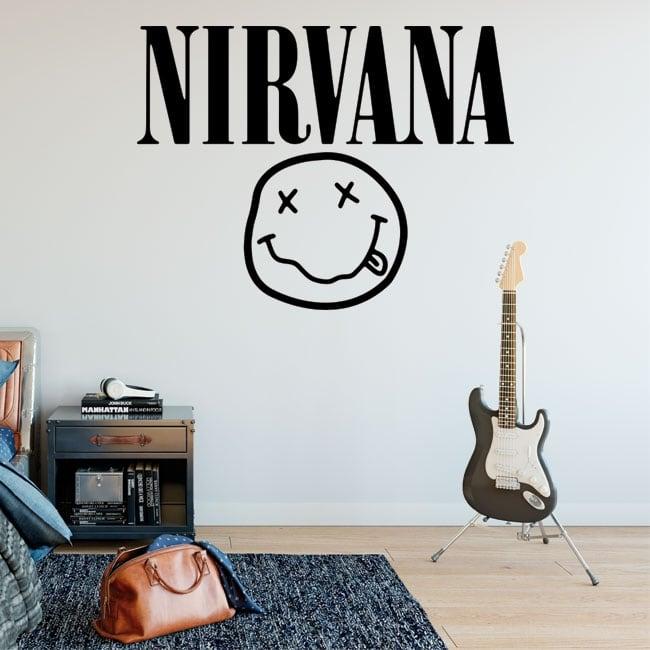 Vinilos y pegatinas rock and roll logo nirvana