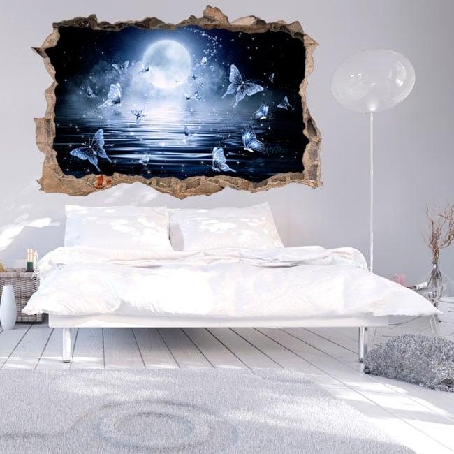 Vinilos 3d luna llena con mariposas en el mar