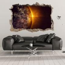 Vinilos 3d planeta tierra y sol