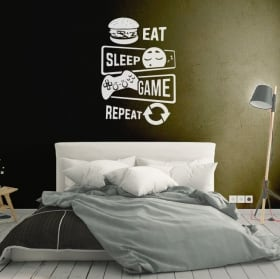 Vinilos y pegatinas videojuegos eat sleep game repeat