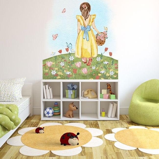 Vinilos adhesivos ilustración niña con flores y mariposas