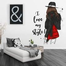 Vinilos silueta de mujer con frase i love my style