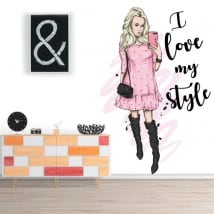 Pegatinas de vinilos silueta mujer frase i love my style