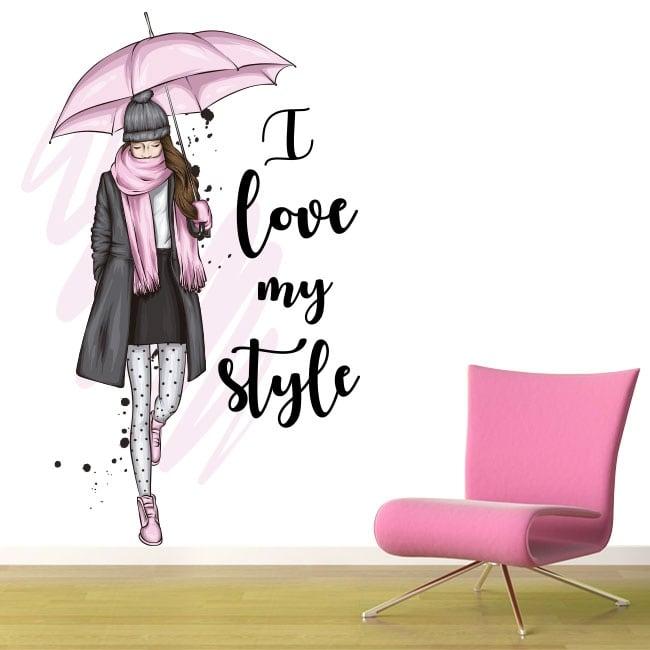 Vinilos silueta mujer frase i love my style