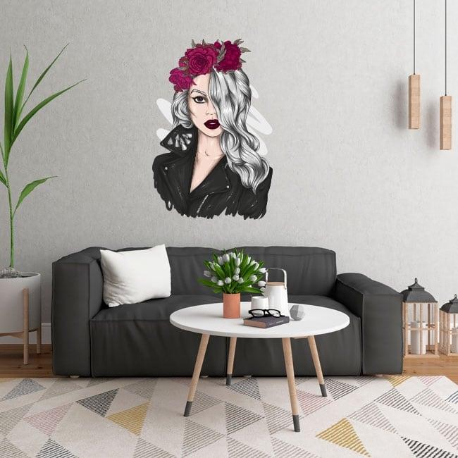 Vinilos y pegatinas silueta de mujer con flores
