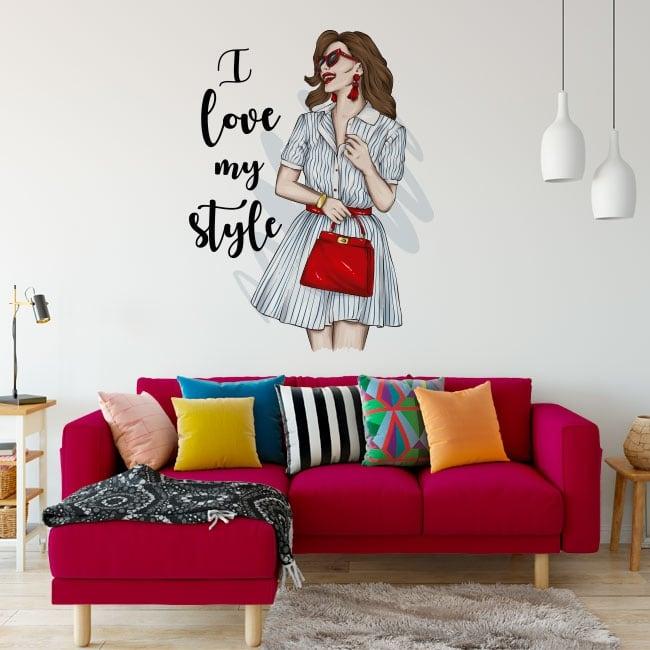 Vinilos y pegatinas mujer con frase i love my style