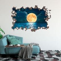 Vinilo 3d luna y mar