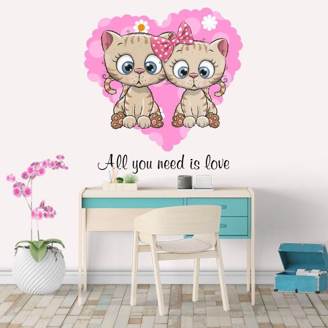 Vinilos y pegatinas gatos all you need is love