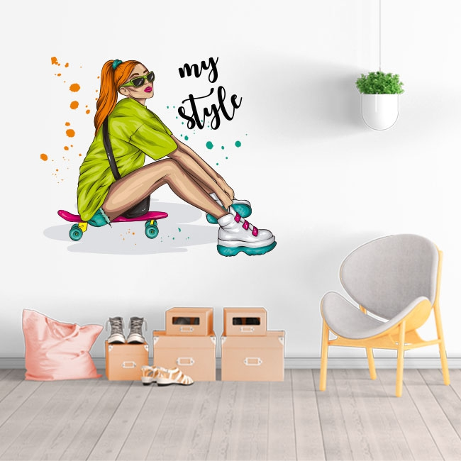 Vinilos y pegatinas mujer skater my style