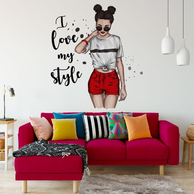 Vinilos pegatinas silueta mujer i love my style
