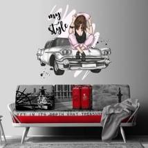 Vinilos decorativos mujer y coche retro my style