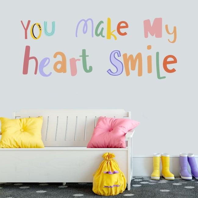 Vinilos frase inglés you make my heart smile