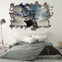 Vinilos 3d agujero pared barco piratas del caribe