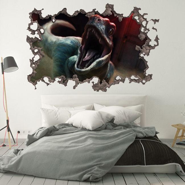 Vinilos 3d agujero pared dinosaurio jurassic park