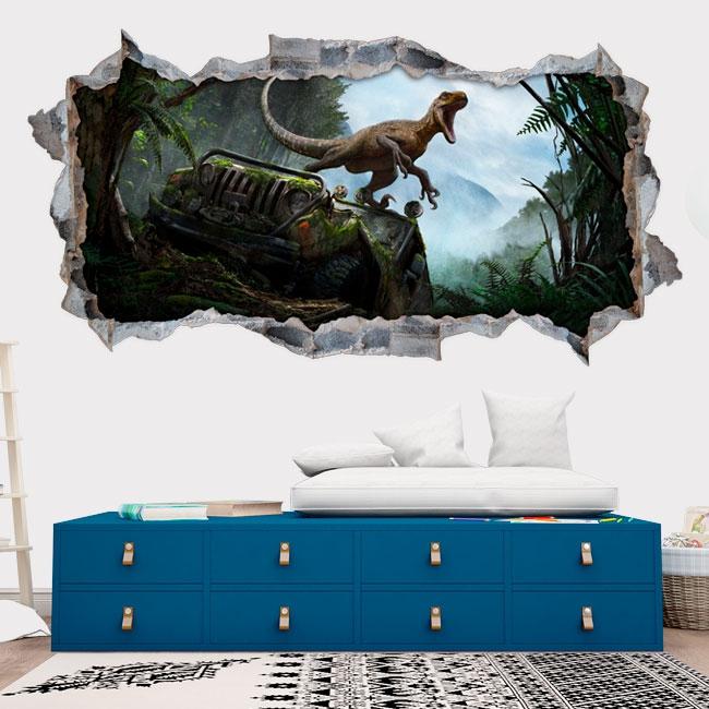 Vinilos decorativos 3d dinosaurio jurassic park